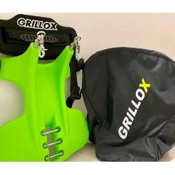 Grillox verde completa di tre perni, renale, zaino, kit moschettoni e neoprene
